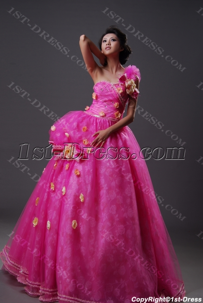 Ball Gown Princess Long / Floor-Length Taffeta Organza Quinceanera Dress