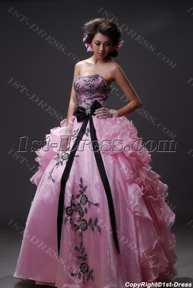 fbd66be41e Ball Gown Princess Strapless Sweetheart Long   Floor-Length Satin Organza  Quinceanera Dress 2219 (Free Shipping)