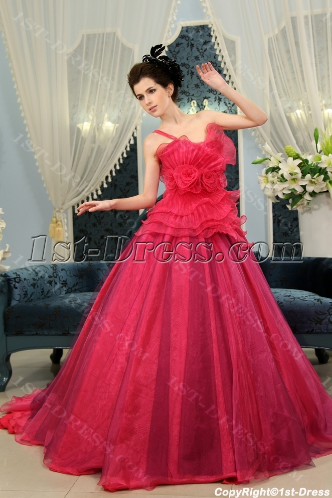 Ball-Gown Strapless Floor-Length Taffeta Organza Quinceanera Dress With Ruffle