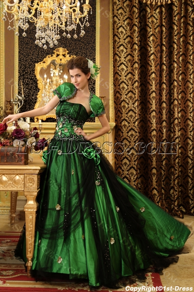 4be70eafeee Ball-Gown Strapless Floor-Length Taffeta Tulle Quinceanera Dress With  Ruffle Beading H-113