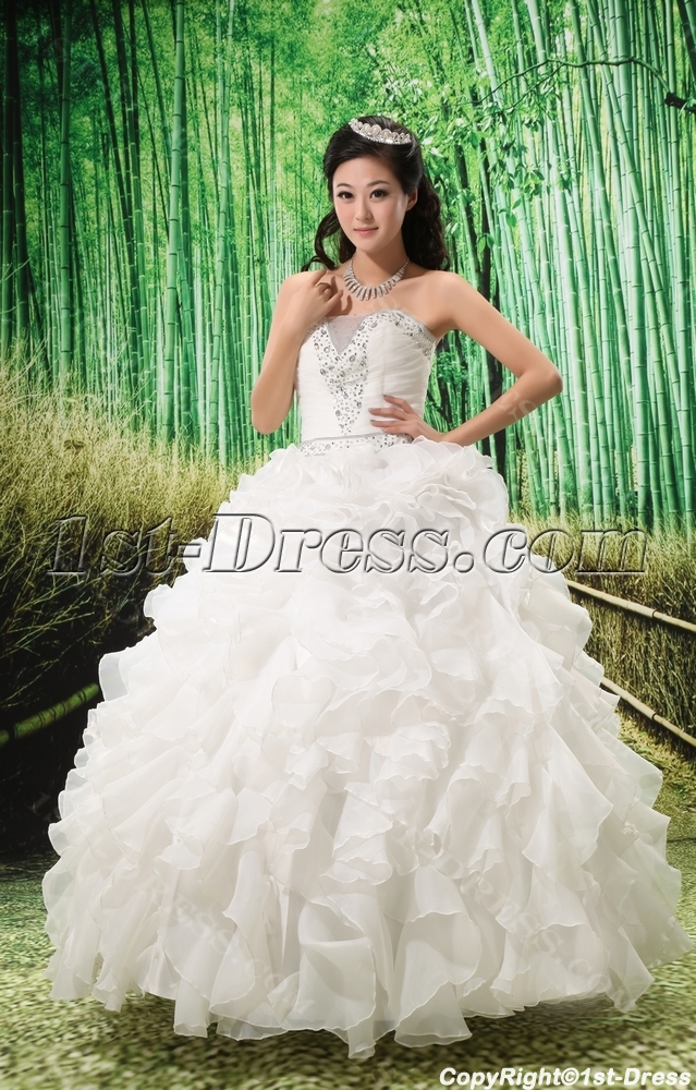 698817fd14f Ball-Gown Sweetheart Chapel Train Organza Satin Wedding Dress With Ruffle  Beadwork Sequins
