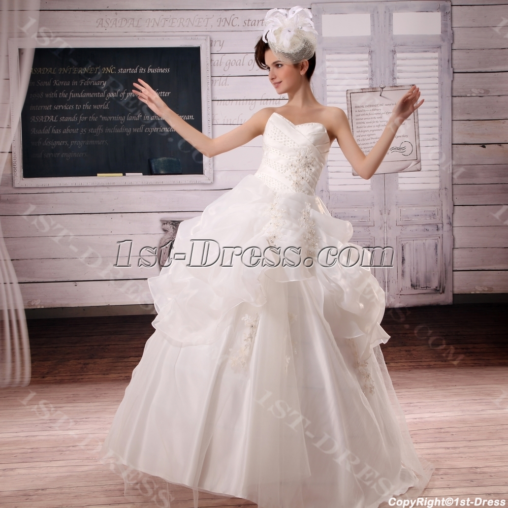 Ball-Gown Sweetheart Court Train Organza Satin Wedding Dress With ...