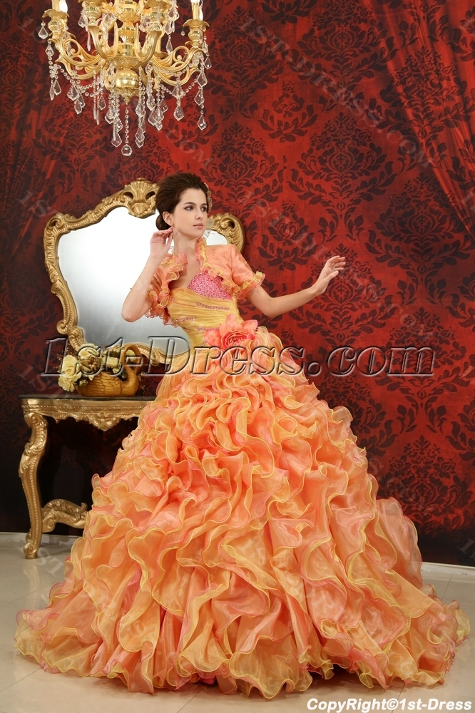 cc08272d90 Ball-Gown Sweetheart One-Shoulder Floor-Length Organza Satin Quinceanera  Dress With Beading H-125