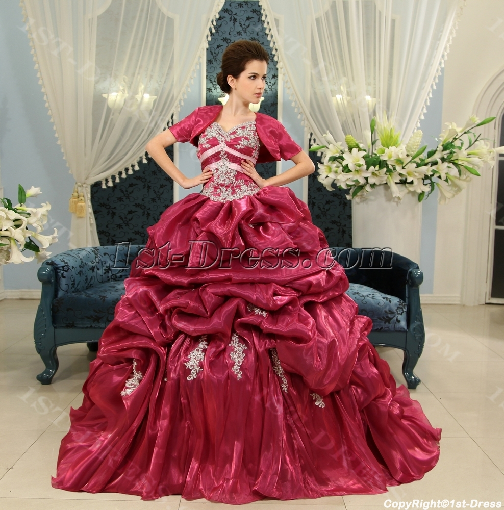 643cb765e8 Ball-Gown V-neck Floor-Length Organza Quinceanera Dress With Ruffle Lace  Beading Sequins H-134