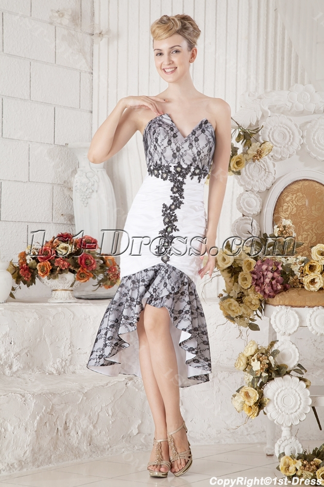 283ace066ede Black and White Short Beach Wedding Dress with High-low Hem (Free Shipping)