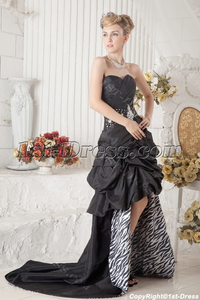866dcd15b9 Black and Zebra High-low Quinceanera Dress 1st-dress.com