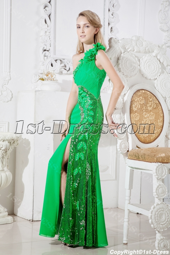 Brilliant Green Evening Dress For Formal Party With One Shoulder Loading Zoom