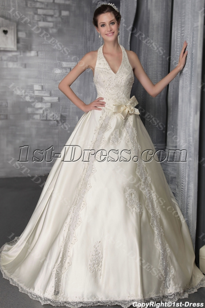 Champagne Halter Garden Bridal Gown With Flowers 27001st Dress