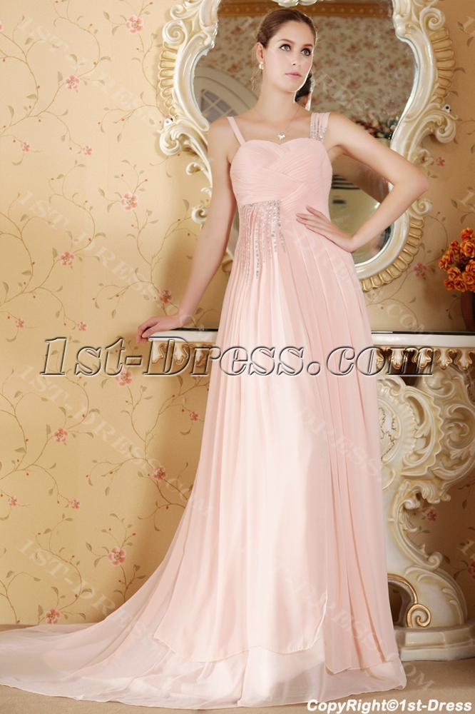 Cheap Romantic Dusty Rose Evening Dress For Plus Size1st Dress