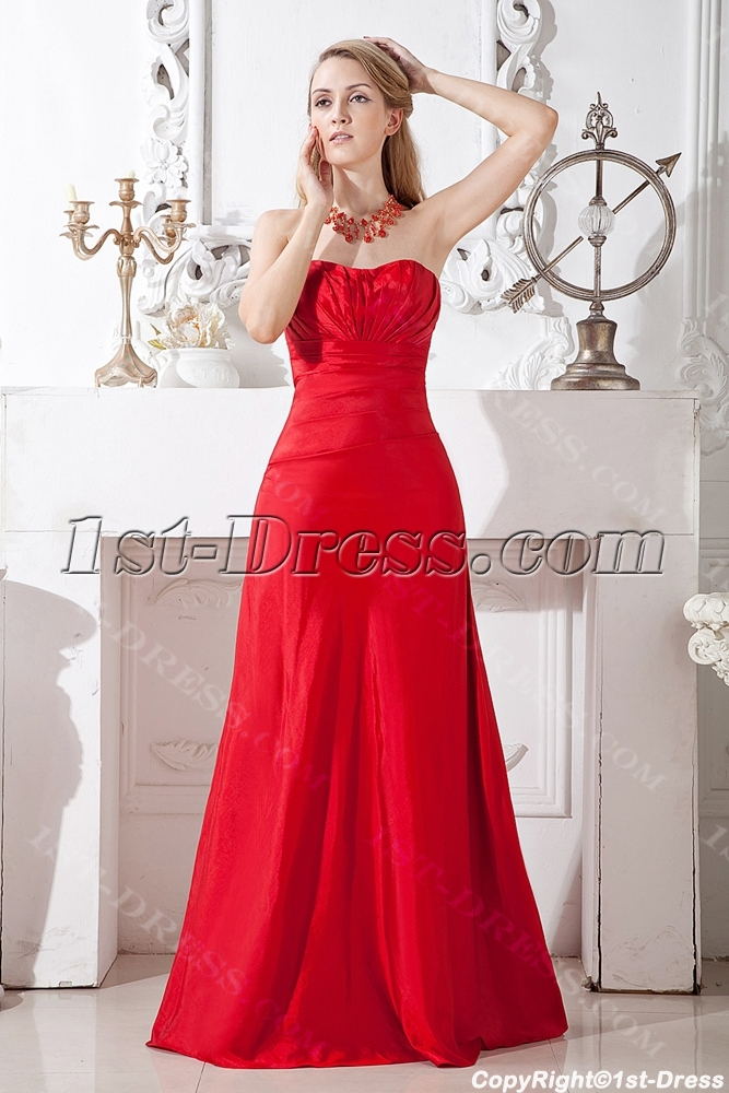 Cherry Long Red Bridesmaid Gown Inexpensive Loading Zoom