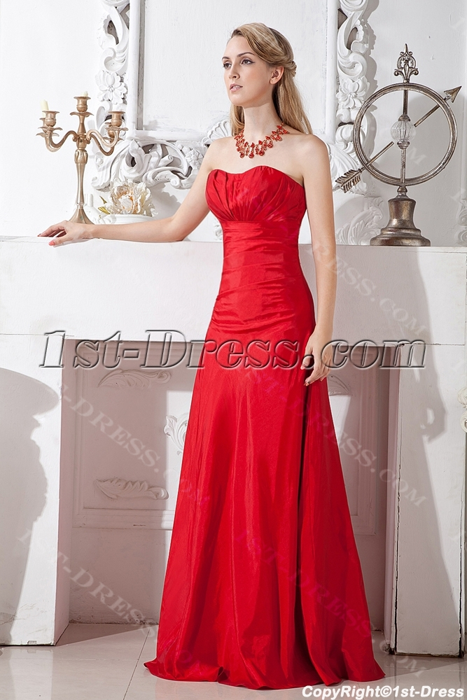 Cherry Long Red Bridesmaid Gown Inexpensive 1st Dress