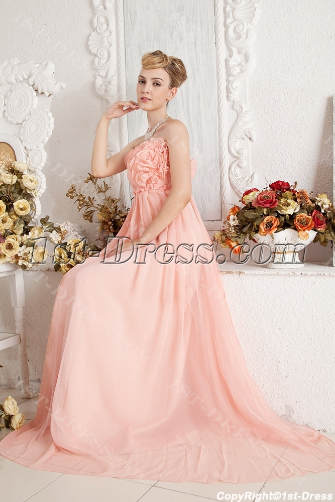 Coral Romantic Empire Prom Dress for Maternity:1st-dress.com