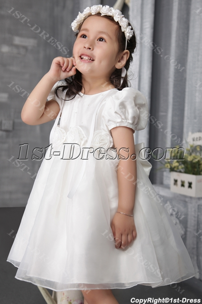 Cute Baby Doll Flower Girl Gown with Cap Sleeves 2508:1st-dress.com