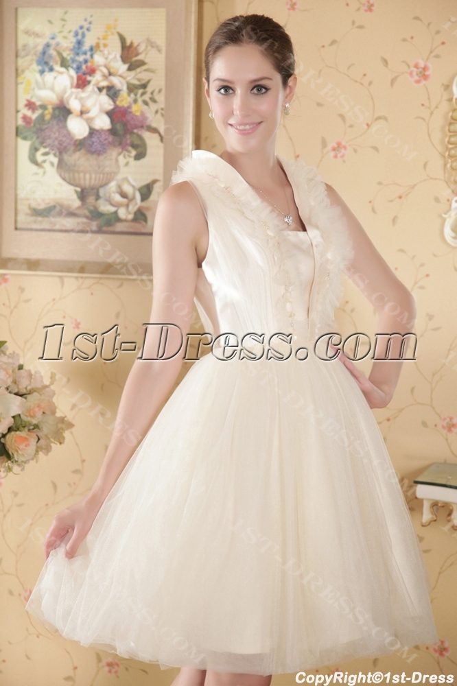Discount Ivory Puffy Modest Short Bridal Gowns:1st-dress.com