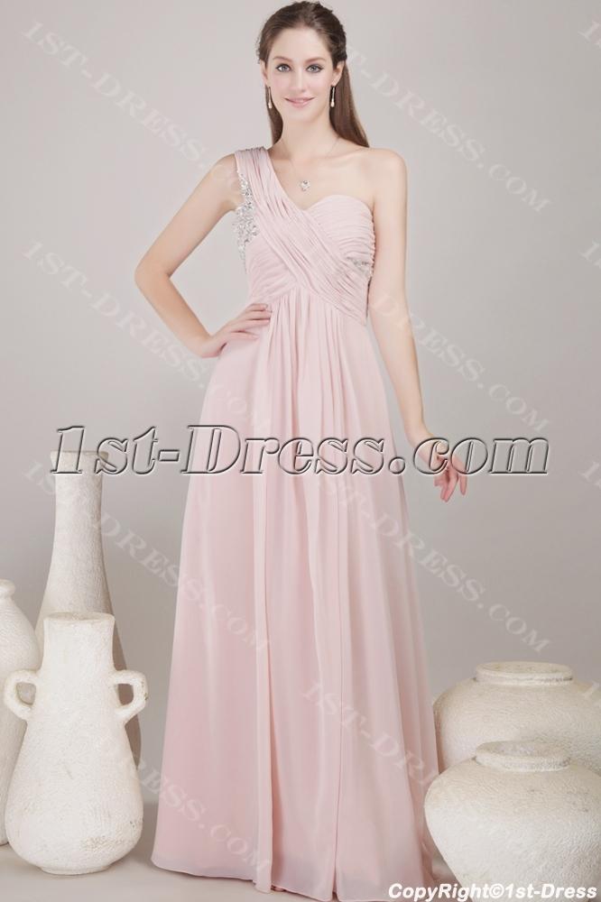 Dusty Rose Long Chiffon Empire Prom Dress for Plus Size:1st-dress.com