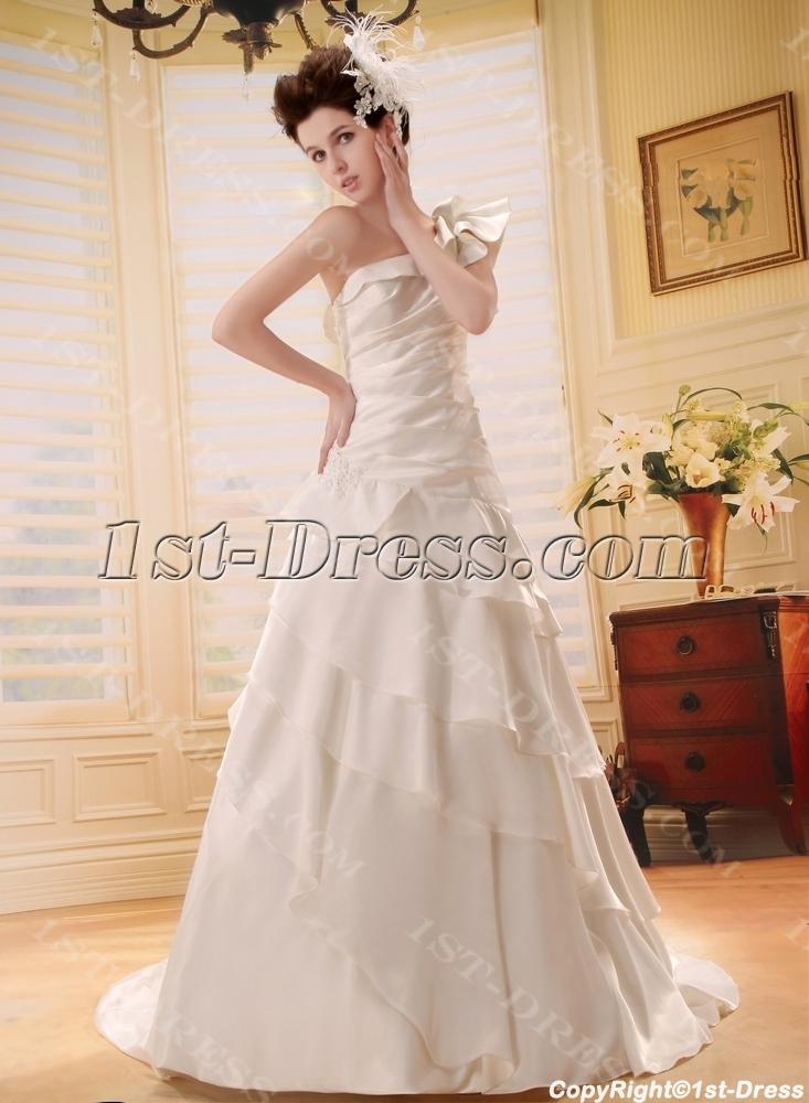 Empire One-Shoulder Court Train Chiffon Charmeuse Wedding Dress:1st ...