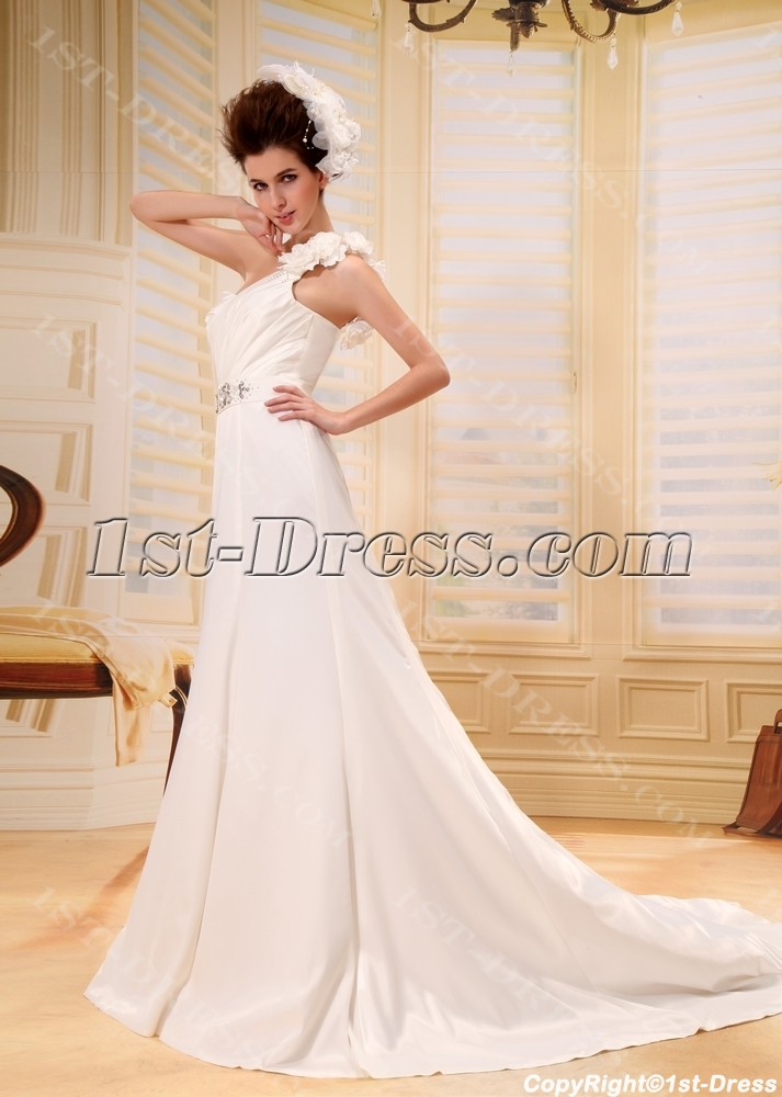 9a6db9c594328 Romantic Spring One Shoulder Maternity Wedding Gown With Flowers:1st ...