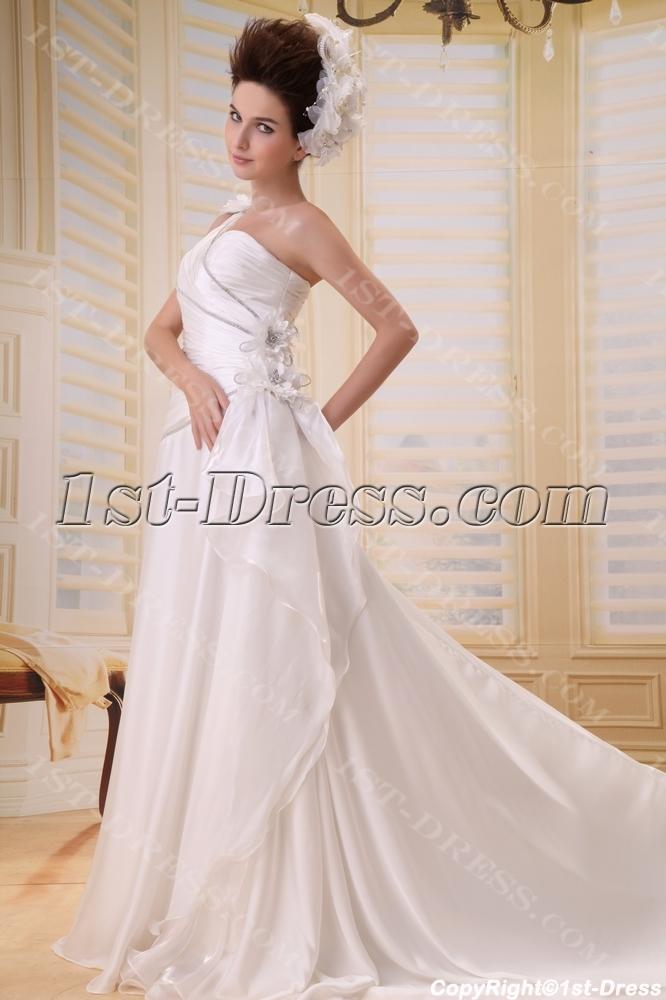 15ad33a161d Empire One-Shoulder Floor-Length Chiffon Wedding Dress With Ruffle Flower(s)  F-060 1st-dress.com