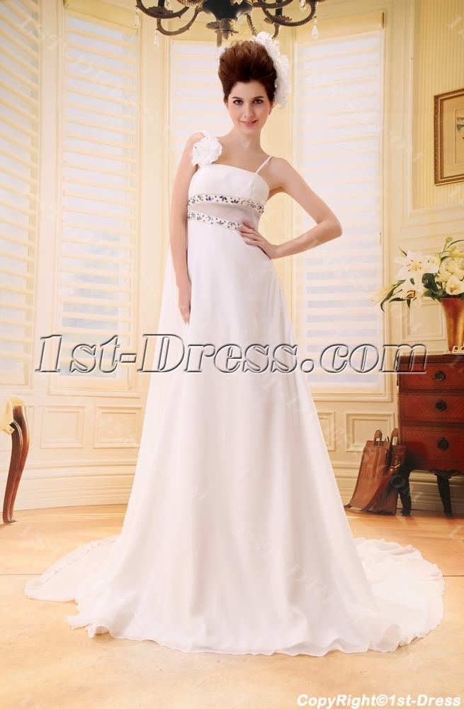 Empire Scoop Neck Court Train Chiffon Wedding Dress With Ruffle Beadwork