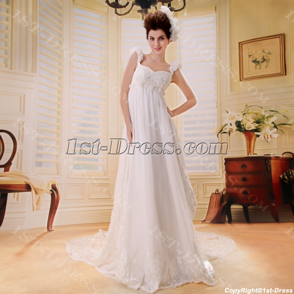 Empire Chiffon Maternity Bridal Dress With Low Back