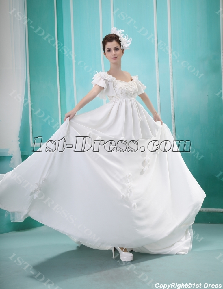 Modest Empire Chiffon Maternity Wedding Dress:1st-dress.com