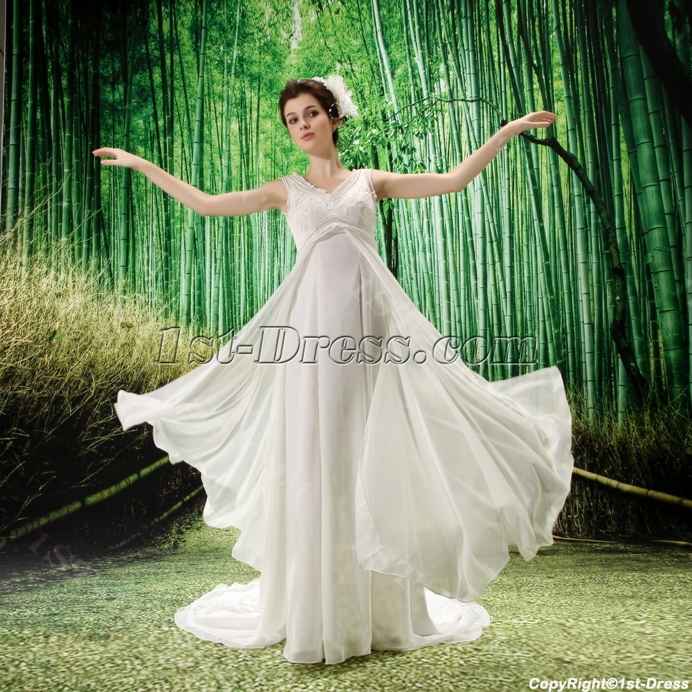 Empire V-neck Chiffon Maternity Wedding Dress