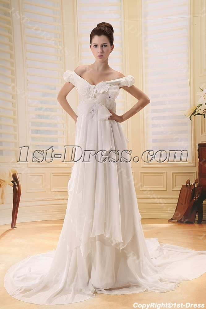 Tasteful Off Shoulder Chiffon Maternity Wedding Dress With Ruffle