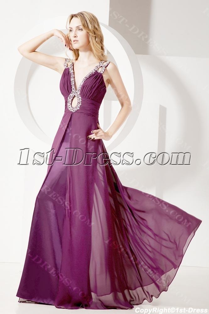 Grape Plus Size Prom Dress for Spring:1st-dress.com
