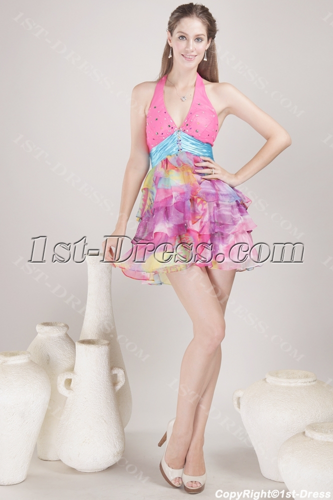 Halter Mini Colorful Homecoming Dress