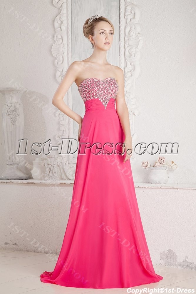 Hot Pink Princess Prom Dress 2013:1st-dress.com