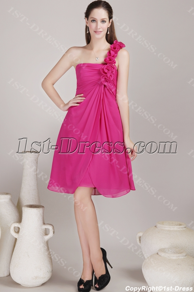 Hot Pink Short Bridesmaid Dress for Beach