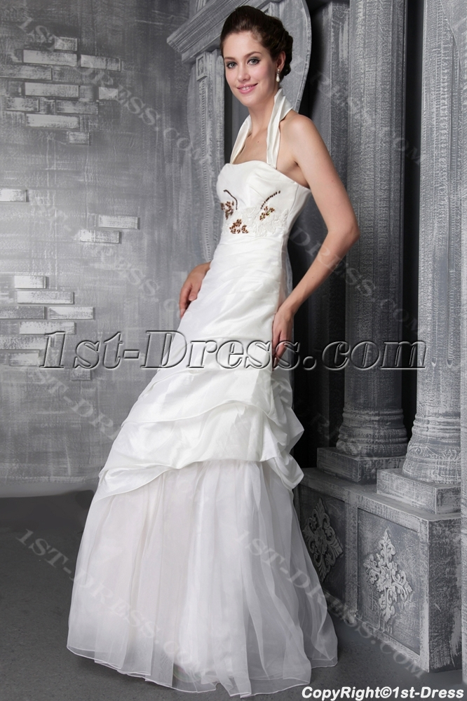 Ivory Halter Wedding Gown Petite 2469:1st-dress.com
