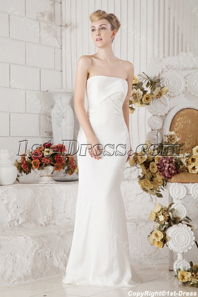 Ivory Simple Sheath Bridal Gown for Garden