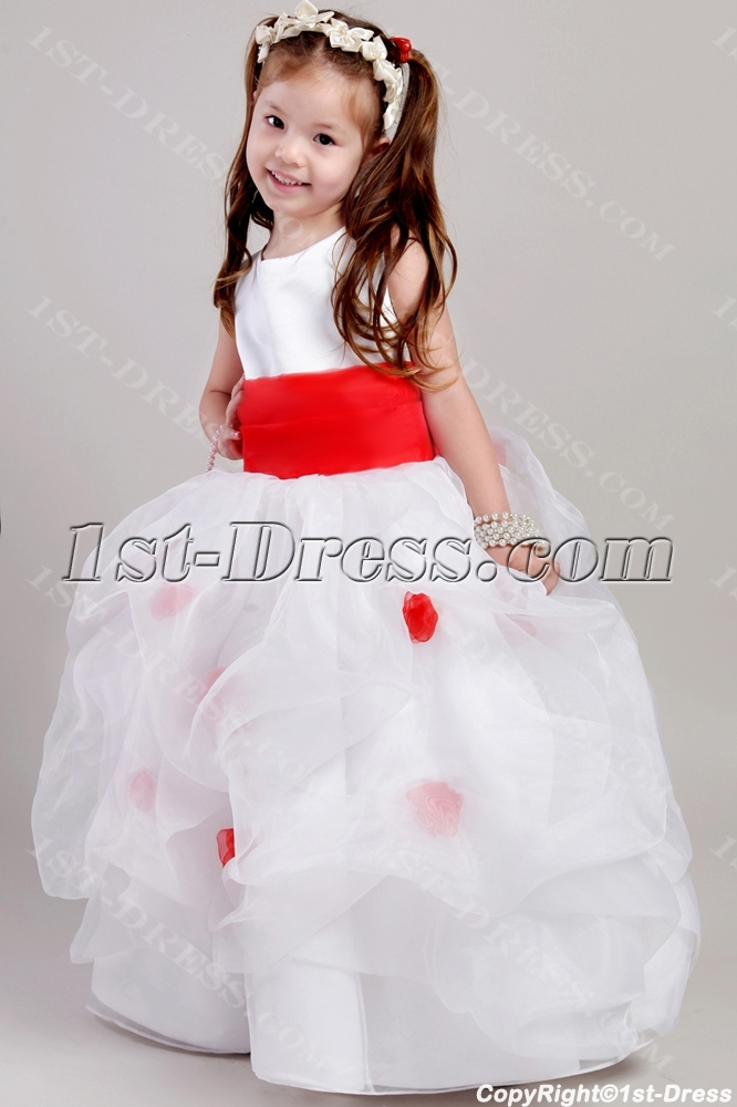 Ivory And Red Toddler Little Bridal Dress 2053 Loading Zoom