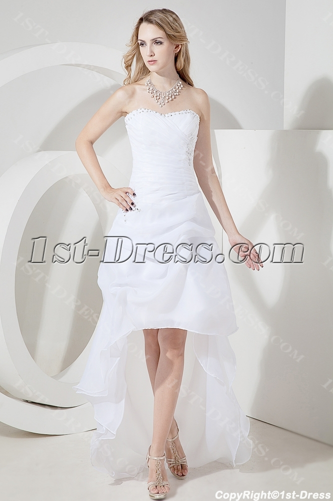 Lovely Beach Bridal Gown with High-low