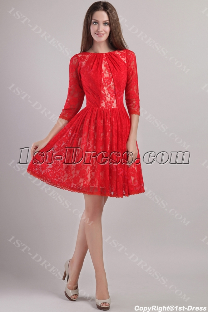 Modest Red Lace Cocktail Dress with Sleeves 2208:1st-dress.com