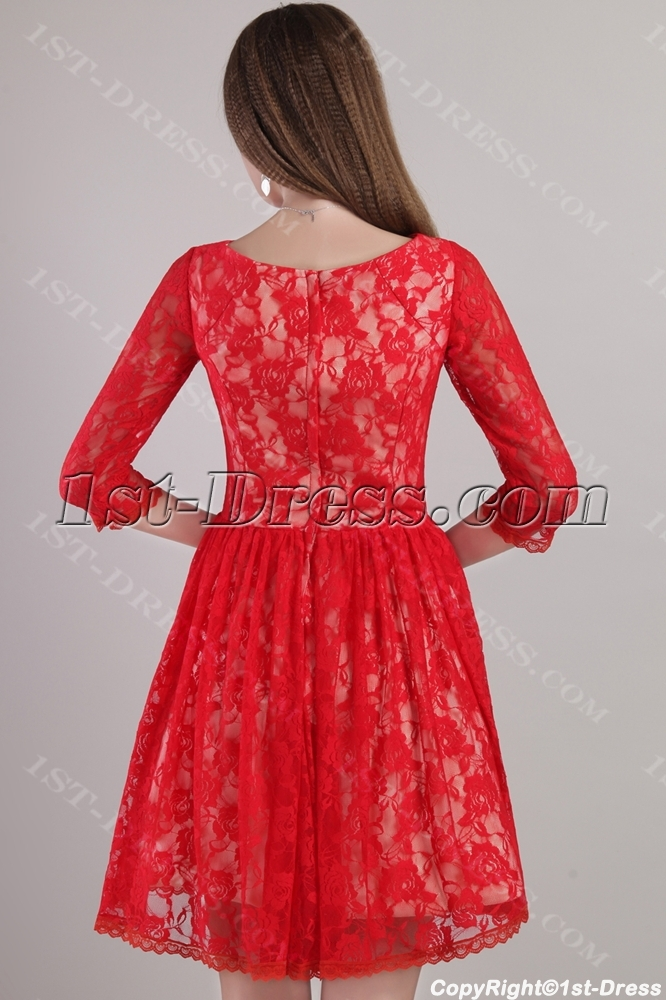 Modest Red Lace Cocktail Dress with Sleeves 2208 1st-dress.com ee3cb0b09