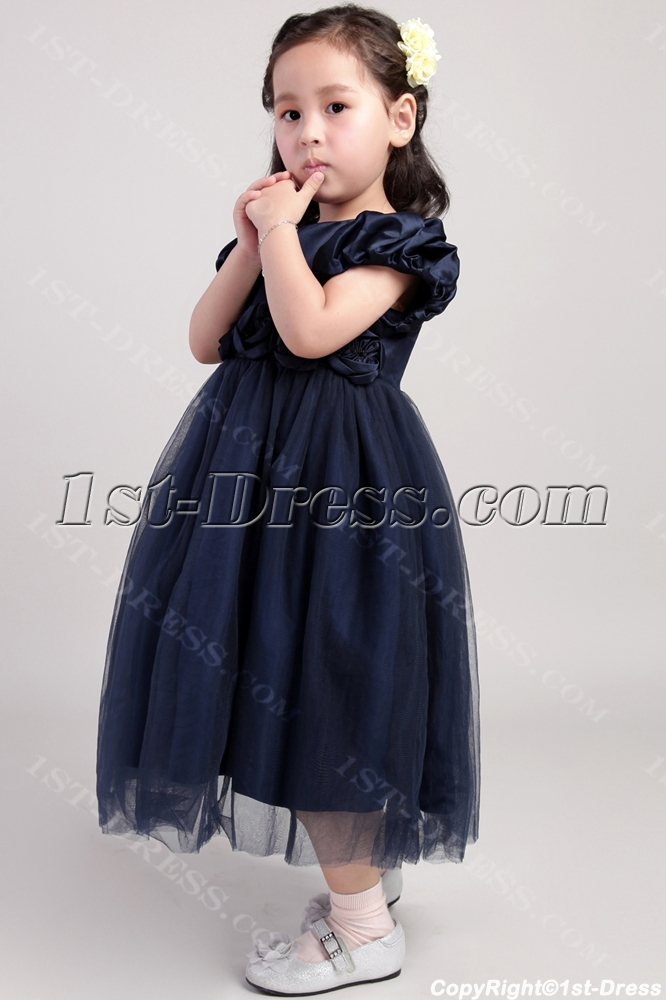 Little Flower Girl Dresses Dark Blue