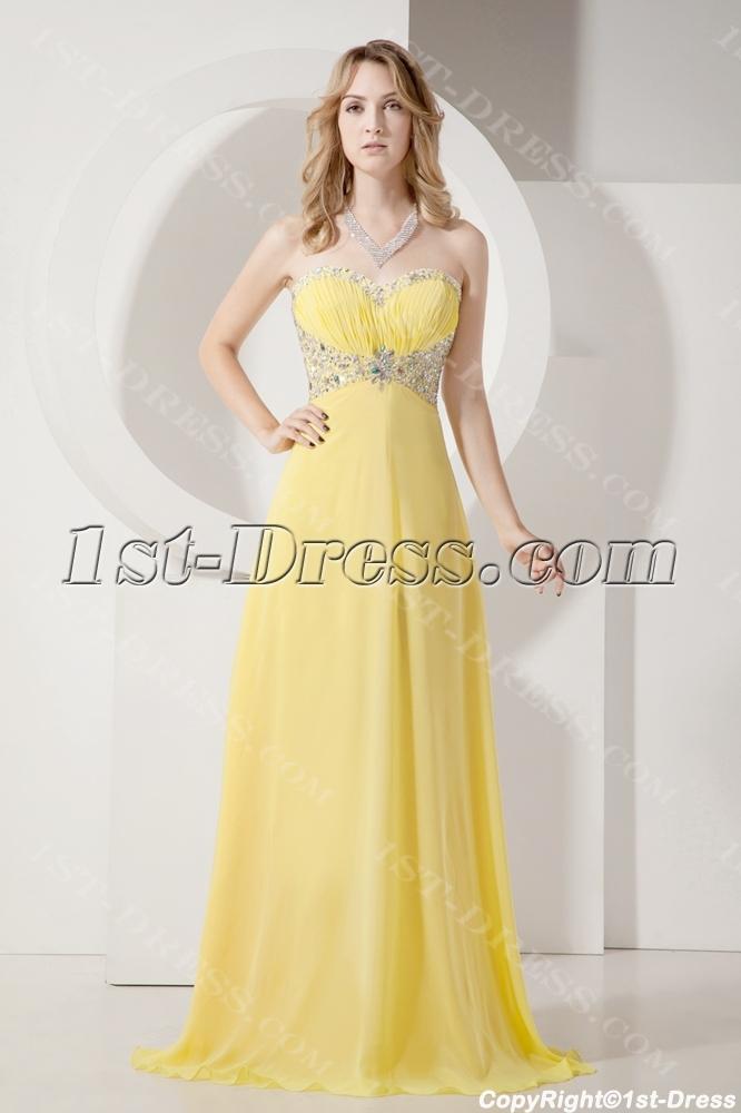 Pretty Long Yellow 2013 Evening Dress with Beading:1st-dress.com