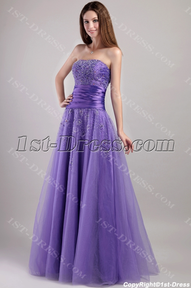 Pretty Purple Long Military Ball Gown