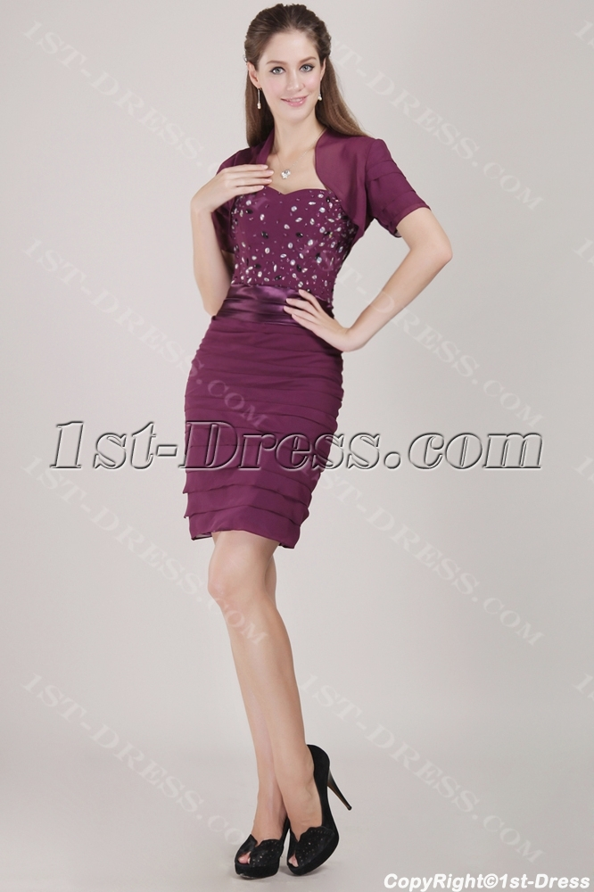 Purple Chiffon Formal Evening Dress with Short Jacket:1st-dress.com