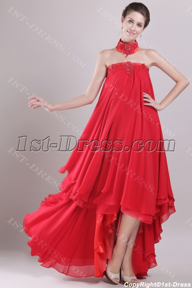 Red Chiffon Empire Bridal Gown For Plus Size With High Low Hem