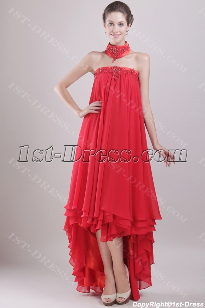 Red Chiffon Empire Bridal Gown For Plus Size With High Low Hem1st