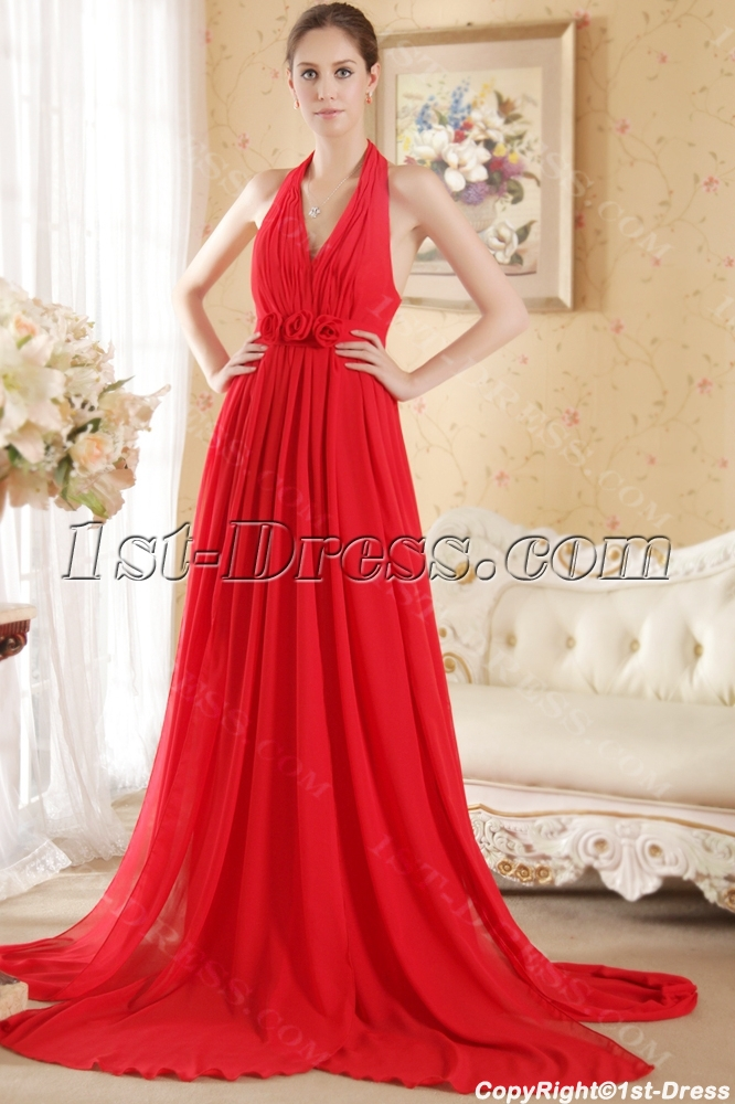 Red Halter Pregnant Evening Dress Cheap With Open Back 1st