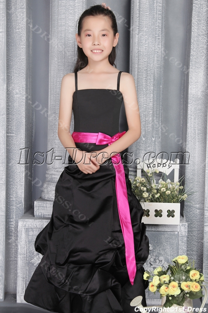 Romantic Black and Hot Pink Junior Bridesmaid Gown 2786:1st-dress.com