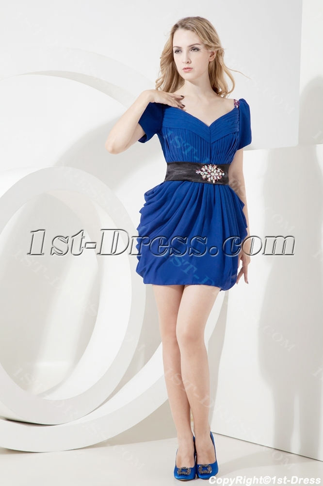 Royal Lantern Informal Prom Dress with Short Sleeves:1st-dress.com