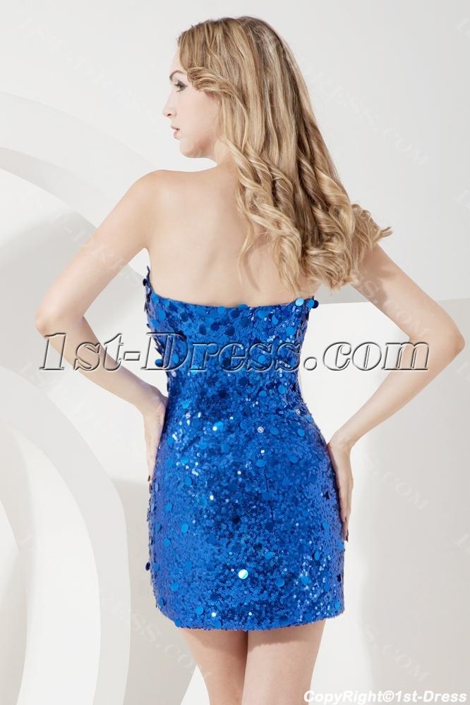 282a4de8670 Royal Sequins Cocktail Dress with Detachable Train 1st-dress.com