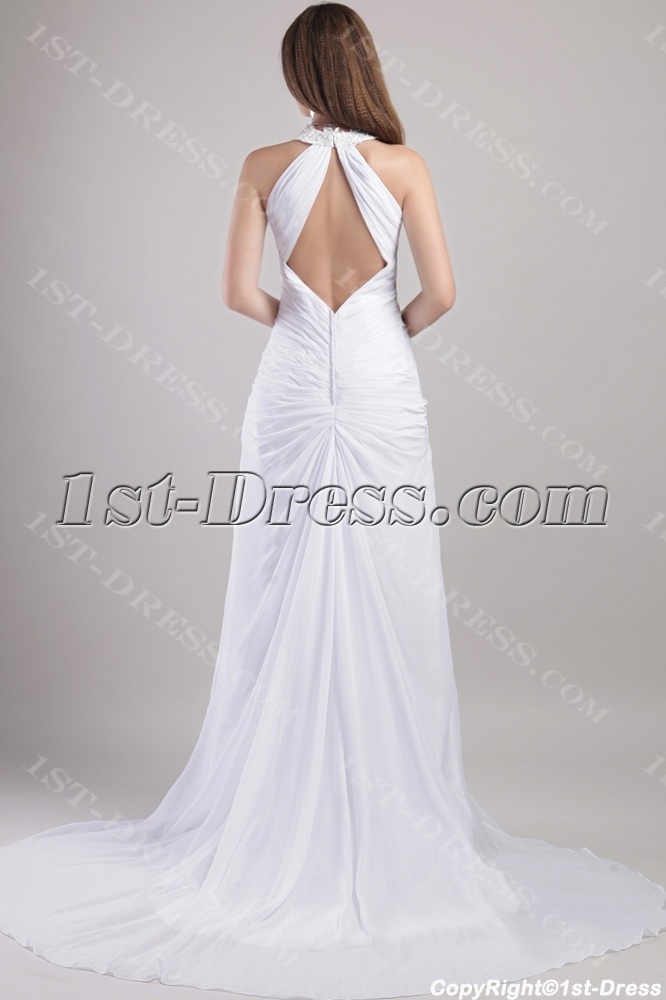 Sexy Beach Destination Wedding Gown with Backless