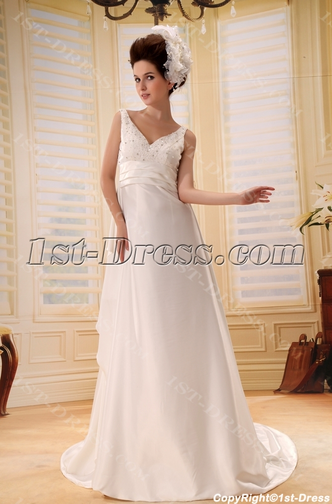 Sheath/Column V-neck Chapel Train Chiffon Wedding Dress With Ruffle Beadwork