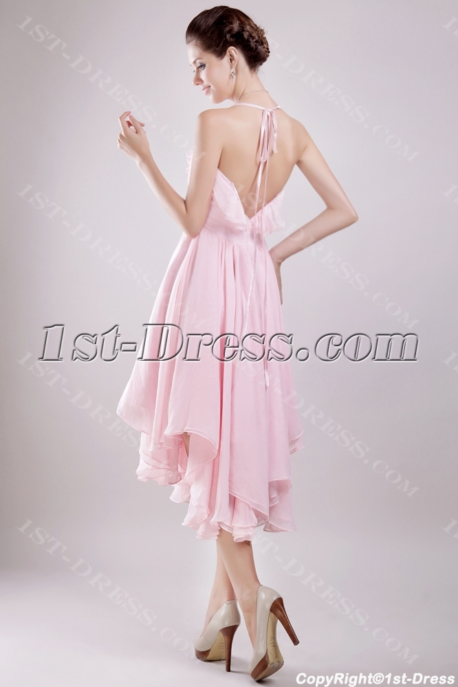 Short Pink Wedding Dresses For The Beach With Backless Loading Zoom